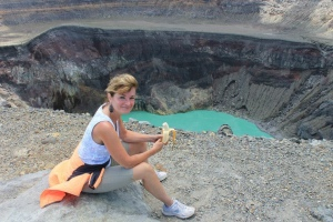 El Salvador top of crater eating banana